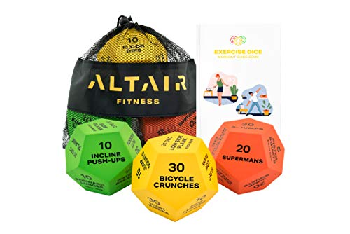 Altair Exercise Dice - Full Body HIIT Workout - Perfect for Home Gym Bodyweight Workout, Strength Training & Cardio, Three 12-Sided Workout Dice, Illustrations & Mesh Bag