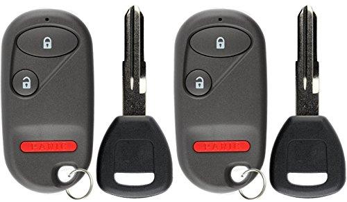 KeylessOption Keyless Entry Car Remote Fob With Uncut Ignition Transponder Key Replacement For NHVWB1U521 NHVWB1U523 (Pack of 2)