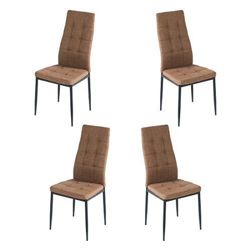 Brigros - Sedie di Tessuto Milano - Set da 4 Sedie Design per Sala da Pranzo, Sedie da Cucina, Ufficio, Sala d'Attesa, Camera da Letto (Nocciola)