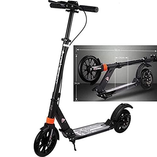 QIXIAOCYB Patada Portátil Scooters Freestyle Comuter Adulto Adulto Niños Freno de Mano Liso, Ride Fast Ajustable Altura Easy Plegable Classic Scooter Negro (Color : Black)