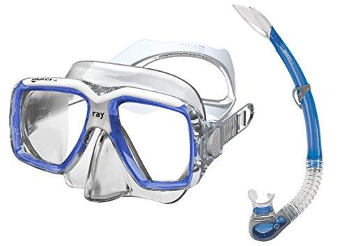 Mares Erwachsene Maske plus Schnorchel Set Ray Tauchmaske, Blue/White/Clear, One size
