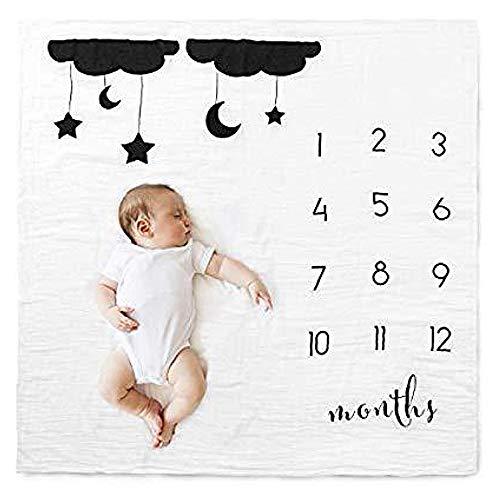 Couverture Nébuleuse Baby Milestone, Couverture en Polyester Noir Et Blanc, Accessoires De Photographie Simples pour Enfants