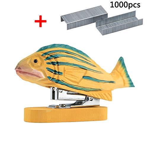 Booluee Vivid Handmade Wood Carving Cartoon Animal Mini Desktop Stapler with 1000 Pcs No.12 Staples for Office School Stationery Best Cute Gift for Children (Fish)