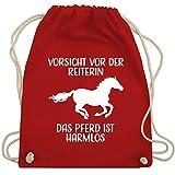 Shirtracer Pferde Geschenk und Reiten Zubehör - Vorsicht vor der Reiterin - Das Pferd ist Harmlos - weiß - Unisize - Rot - WM110 - WM110 - Turnbeutel und Stoffbeutel aus Baumwolle