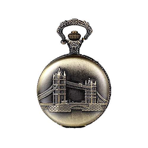 JewelryWe Joyas collar colgante hombre/mujer estilo antiguo, colgante Puente de Londres, reloj de bolsillo cuarzo, 80cm de largo (con bolsa de regalo)