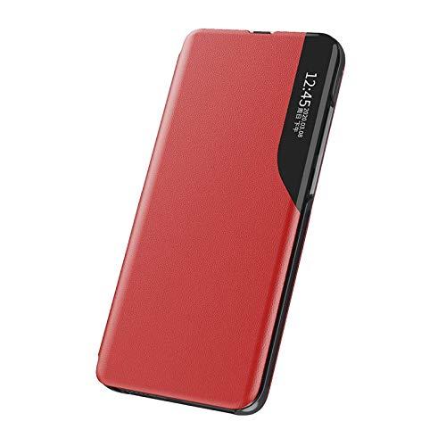 BIGSONG Funda Smart View para Xiaomi Redmi Note 10 4G/10S,Ultra Delgado Inteligente Funda Flip Case Cover,Prima PU Cuero Carcasa con Clear Ventana,Moda Espejo Estuche Movil con Soporte Plegable
