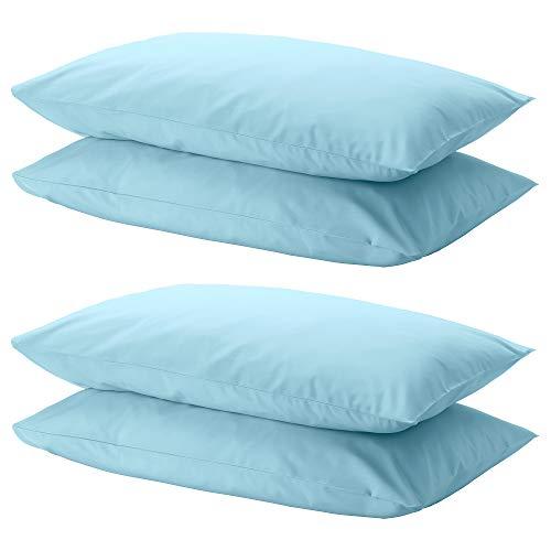 Ikea DVALA - Juego de 4 fundas de almohada (50 x 80 cm), color azul claro