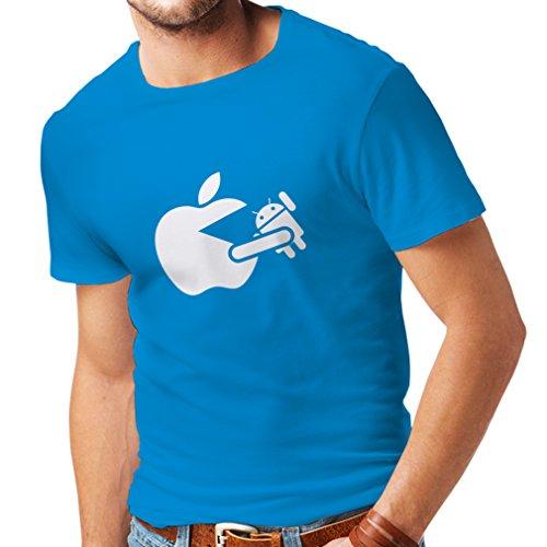 T-Shirt pour Hommes Apple drôle Mange Un Robot - Cadeau pour Les Fans de Technologie (XX-Large Bleu Blanc)