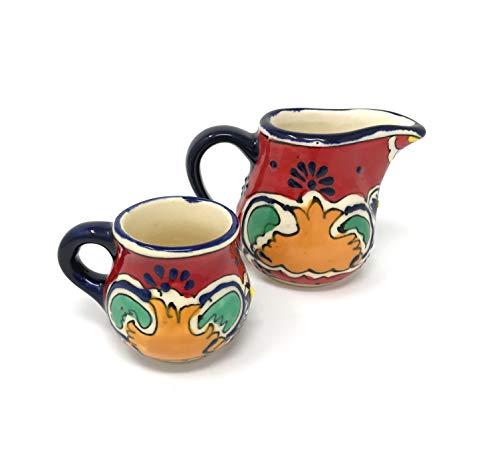 Mexican Talavera Sugar and Creamer Set by Mexican Talavera Pottery
