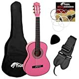 Tiger Jasmin Set de Guitarra Clásica de 1/4, Color Rosa