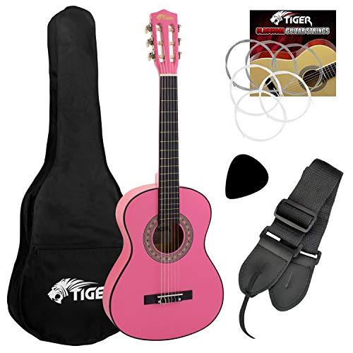 Tiger Jasmin Set de Guitarra Clásica de 1/4, Color Rosa