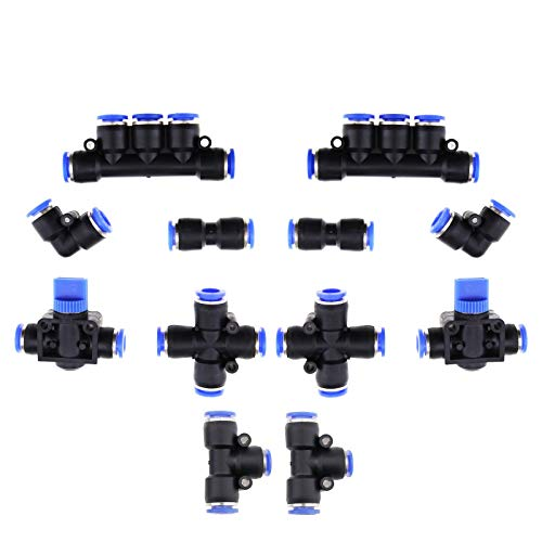 YINETTECH - Juego de 12 piezas de juntas neumáticas para tuberías de 8 mm OD 5/16 pulgadas tubo de cruz codo en T recto, válvulas de mano rectas profesionales