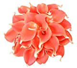 ALIERSA 10 Heads Mini Calla Lily Bridal Wedding Bouquet Real Touch Flower Bouquets(Coral)