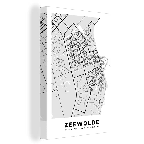 Canvas Schilderijen - Stadskaart - Zeewolde - Grijs - Wit - 90x140 cm - Wanddecoratie - canvas met 2cm dik frame