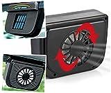 HVH SHOP Solar Powered Car Window Cool Air Vent Auto Fan - Black