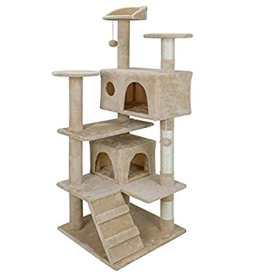 ZENY 53'' Cat Tree with Sisal-Covered Scratching Posts and 2 Plush Rooms Cat Furniture for Kittens