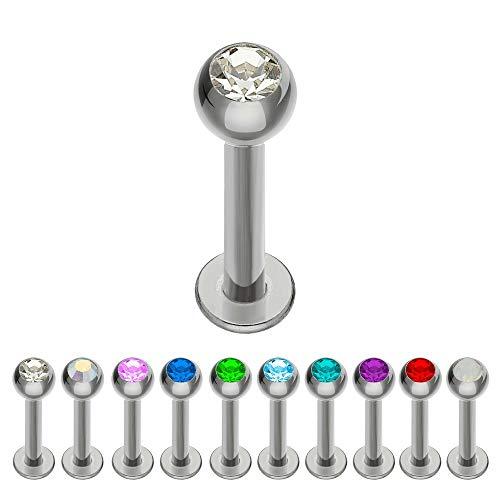 Treuheld® | Silbernes Titan LABRET Piercing mit KRISTALL - [131.] 1.2 x 10 mm (Kugel: 3mm) - klar/durchsichtig