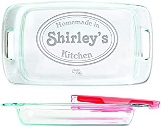 Engraved Glass Baking Dish with Lid 9x13 - Personalized - Homemade Kitchen