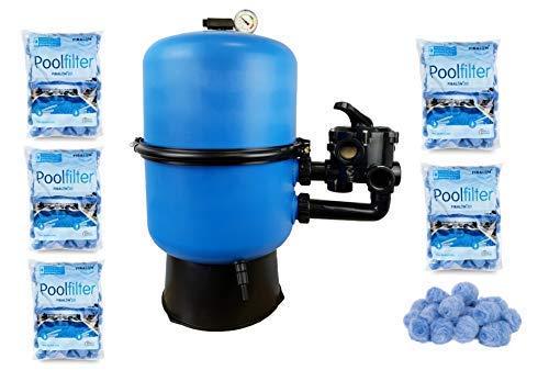 well2wellness Pool Sandfilter Behälter Sandy.Split 2-geteilt Ø 600 mm mit 6-Wege-Ventil Plus 5 x 350g Filtermaterial Fibalon 3D