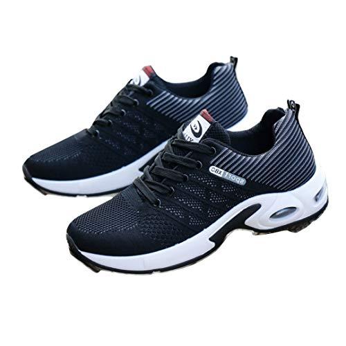 [フルールアンフェ] メンズ スニーカー ランニングシューズ フィットネス ウォーキング 厚底 疲れにくい 通気性 スポーツ カジュアル かっこいい 靴 (26.5, グレー)