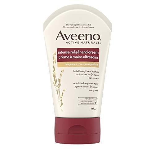 Aveeno Skin Relief Crème hydratante intense pour les mains avec de l'avoine apaisante et des émollients riches pour la peau sèche, 24 heures d'hydratation, sans parfum et sans stéroïde, 99,2 g