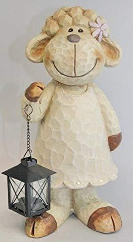 Vamundo Niedliches Deko-Schaf Mädchen in Holz Optik mit Teelicht Laterne # wetterfest