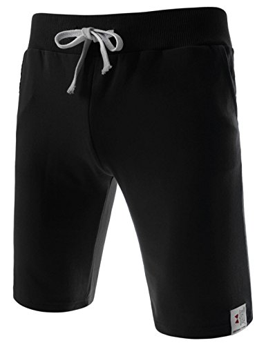 TheLees (TTS01) Unisex Cotton Jersey Waist Elastic Jogger Training Beach Board Shorts Black Small(US 25~27)