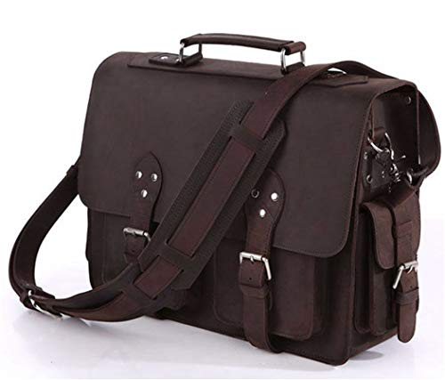 Portfolio Unisex Business Male Bag Thick Leather Executive Men's Briefcase 16' Laptop Bags Satchel chocolate