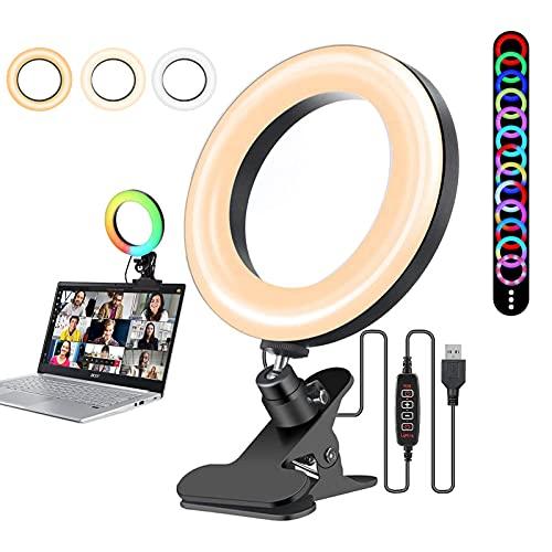 WKZYLKK Selfie LED Ring Light 16,3 cm Video Conferenza Illuminazione Per Computer Portatile Con Morsetto 36 Modalità 8 Luminosità, RGB Trucco Luce Dimmerabile Cerchio Luce