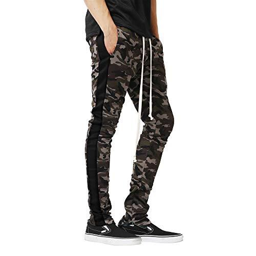 Celucke Seitlich gestreifte Jogginghose Slim Fit   Camouflage Jogger Hose Herren   Mode Freizeithose   Lange Sweatpants mit Kordelzug