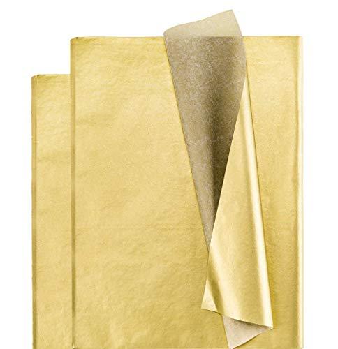 100 unidades de papel de seda dorado para envolver regalos para fiestas, manualidades, flores, bodas, cumpleaños