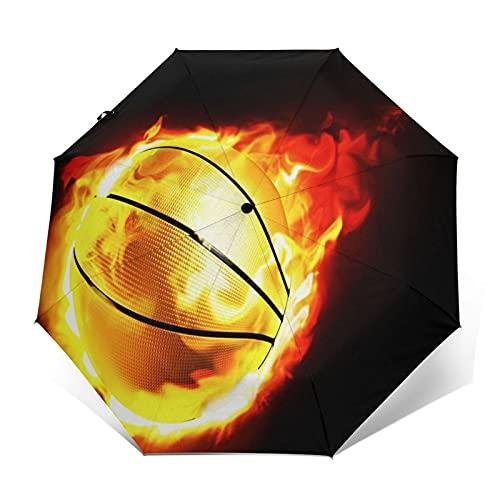 Paraguas Plegable Automático Impermeable Deporte, Llama, Vuelo, Baloncesto, Paraguas De Viaje Compacto a Prueba De Viento, Folding Umbrella, Dosel Reforzado, Mango Ergonómico