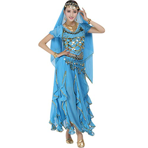 TianBin Volkstanzkostüm Tanzkostüm Bauchtanz-Kostüm Set für Damen Pailletten Top Volant-Rock (See Blau#2, One Size)