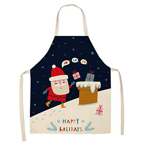 EVENN Delantal sin mangas para decoración de Navidad, de algodón y lino, delantales de cocina para mujer, para cocinar en casa, hornear, 53 x 65 cm, 2WQ-WQL0037-3