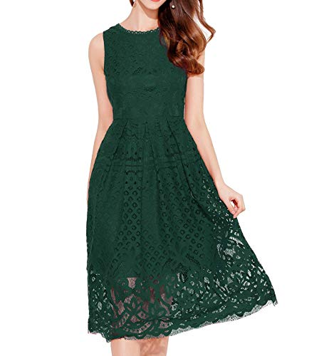 VEIISAR Womens Fashion Sleeveless Lace Fit Flare Elegant Cocktail Party Dress (Dark Green L) (Apparel)