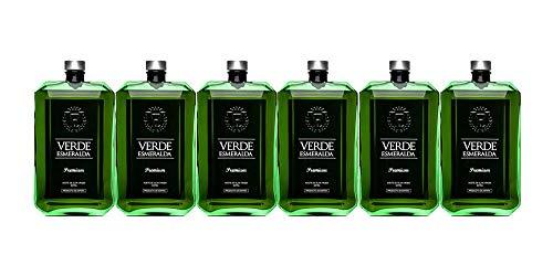 Caja 6 Botellas de 500ml Verde Esmeralda Premium | Aceite de Oliva Virgen Extra Variedad Picual | Productos Gourmet | Ideal para regalo
