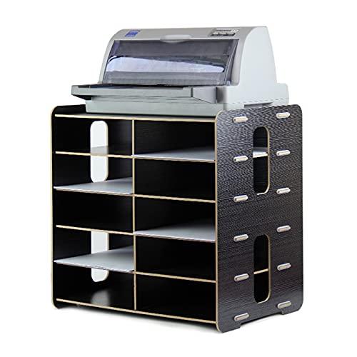 Soporte para Impresora Soporte de impresora de madera gruesa, estante de almacenamiento de archivos de 6 niveles, soporte de impresora de pie con almacenamiento Organizador de escritorio de madera par