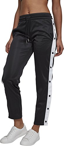 Urban Classics Damen Relaxed Sporthose Ladies Button Up Track Pants TB1995, Gr. 42 (Herstellergröße: XL), Schwarz (Blk/Wht/Blk 00493)