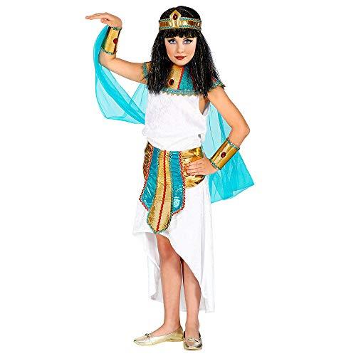 WIDMANN 09416 - Disfraz infantil de reina agptica (128 cm), color blanco y turquesa , color/modelo surtido