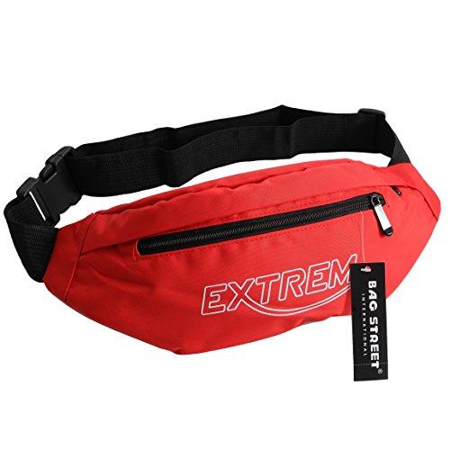 Bag Street - Gürteltasche Hüfttasche Bauchtasche Geldgürtel Reisetasche Kameratasche aus Nylon - präsentiert von ZMOKA® in versch. Farben (Rot)