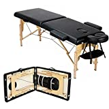 Massage Table Portable Massage Bed Massage Therapy Table Spa Bed 84 Inch Adjustable 2 Fold Salon Bed Face Cradle Bed with Carrying Case Black