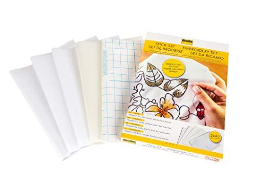 Vlieseline Stick-Set, 5 Stickvliese zum Ausprobieren, Fixier-Stickvlies, Soluvlies, Solufix, Filmoplast H 54