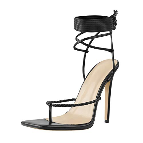LISHAN Women's Thong Heeled Sandals Square Toe Ankle Strap Flip Flops Two Pieces Slingback Strappy Wrap Up Stiletto High Heels Black Size 12