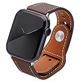 Kluck® Cinturino in pelle per Apple Watch Series 7 6 5 4 3 2 1 SE 45 mm 44 mm 42 mm 41 mm 38 mm 40 mm iWatch Cinturino di ricambio per orologio da uomo e donna (38 mm/40 mm/41 mm, marrone scuro)