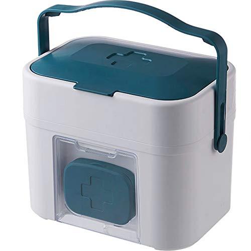 Umora救急箱 収納ボックス 薬箱 お薬 箱 工具箱 応急ボックス 壁掛け 薬収納 小物収納 2段式 取っ手付き 大容量 多機能 ミニ薬ボックス付き(ブルー)