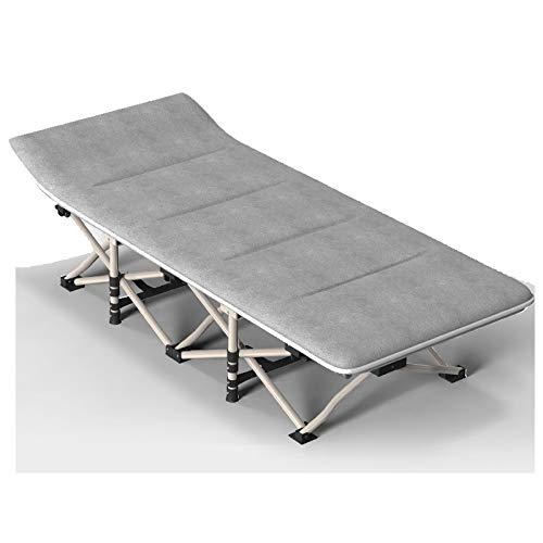 Cama de sol de metal, tumbona gris plegable con cojín, camas individuales...