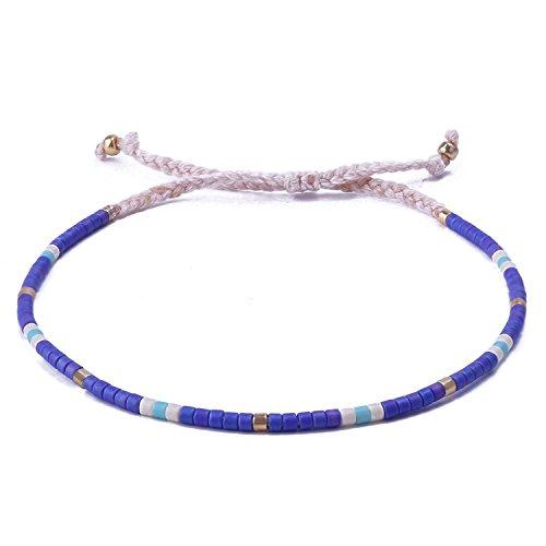 C.QUAN CHI Corde De Bracelet Mince Perle De Graine Bleu pour Femme Fille