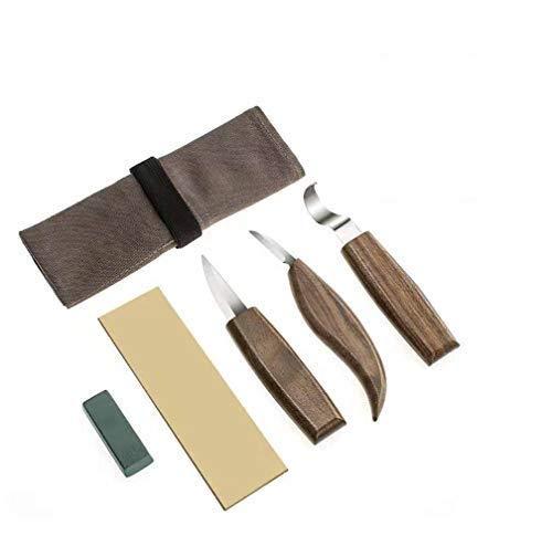 Set di 6 scalpelli per intaglio fai da te in legno, con gancio, coltello per la lavorazione del legno, set di attrezzi per tagliare, guanti resistenti al taglio, cinghie in pelle