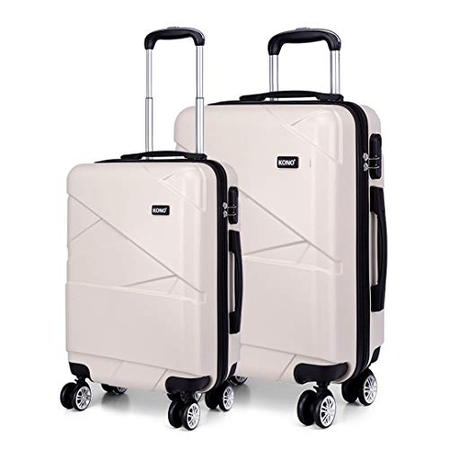 Kono Luggage Set of 2 Hard Shell PC Travel Case Lightweight Suitcase with 4 Spinner Wheels Cabin+Large Set (Cabin+Large, Beige)