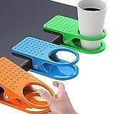 EudoER - Juego de 4 clips de sujeción para vasos de colores para el hogar, la oficina, el escritorio, la mesa